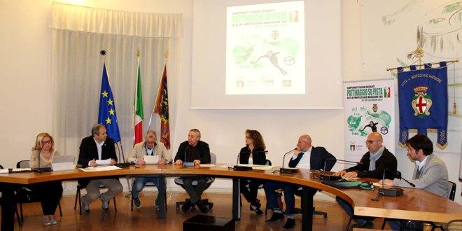 Un momento dell'incontro di presentazione dei Campionati italiani di pattinaggio, a Montecchio Maggiore