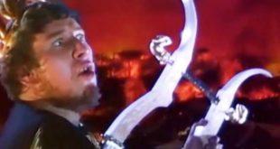 """Peter Ustinov nei panni di Nerone, nel film del 1951 """"Quo Vadis"""", di Mervyn LeRoy"""