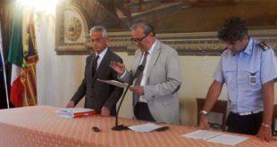 Da sinistra, l'assessore Rotondi, il sindaco Variati e il comandante della polizia locale Rosini