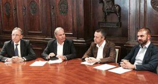 Da sinistra: Dario Vianello, Achille Variati, Flavio Tosi e Fabio Venturi