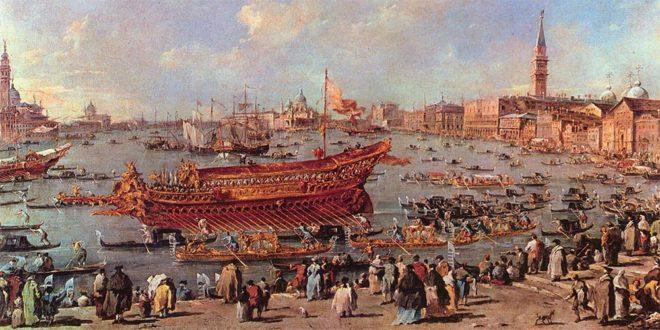 Il doge sul Bucintoro presso la riva di sant'Elena - Francesco Guardi (1766)