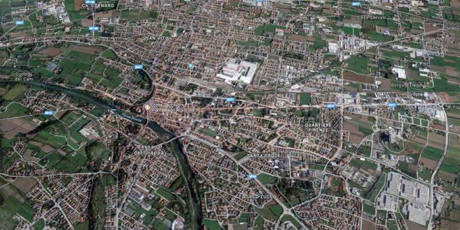 Immagine dall'alto di Bassano del Grappa, con indicato il Quartiere Firenze (Fonte Google Maps)