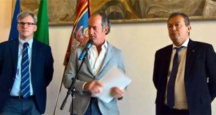 Il presidente della Regione Zaia tra gli assessori Bottacin e Coletto