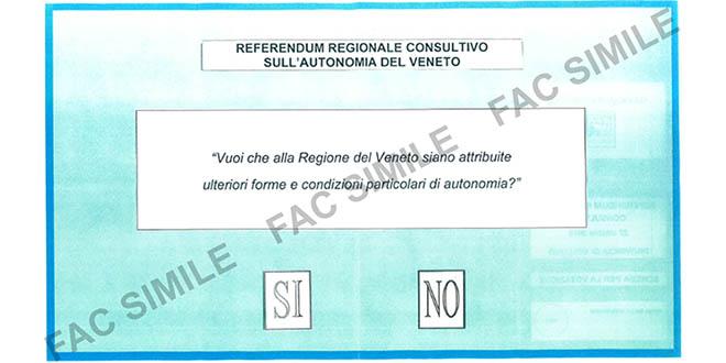La scheda con cui voteremo il 22 ottobre (Immagine tratta dal sito della Regione Veneto)