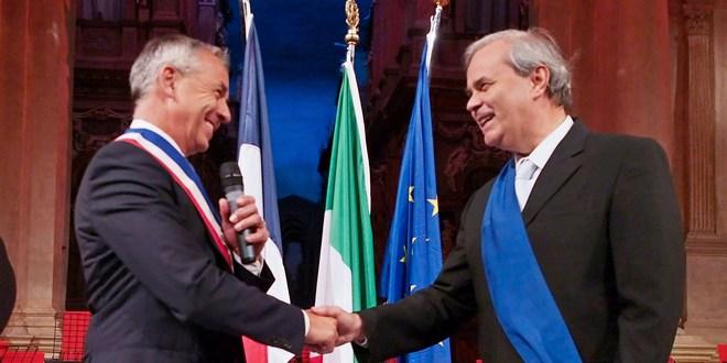 Il sindaco di Annecy, Rigaut, a sinistra, e il presidente della provincia di Vicenza, Variati