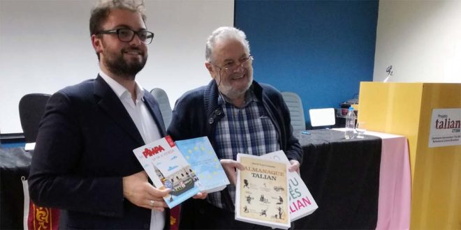 Il capo delegazione Alessandro Mocellin con il prof. Darcy Loss Luzzatto, autore di dizionari e grammatiche sul 'talian', o veneto brasileiro