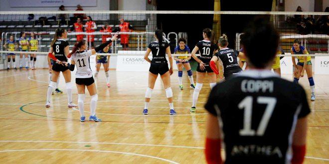Un momento della partita tra Anthea Vicenza ed Ezzelina Volley. Foto di Paolo Rugiero