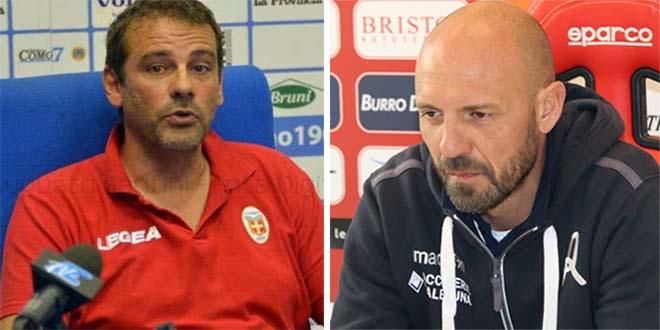 Da sinistra, l'allenatore del Bassano Virtus Giovanni Colella e quello del Vicenza Nicola Zanini