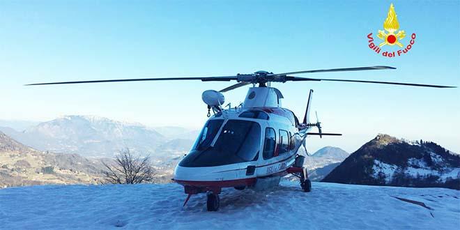 Elicottero Drago 84 : Recoaro salvato escursionista bloccato sul monte zevola