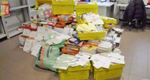 Maxi sequestro di posta non consegnata da parte della polizia di stato.