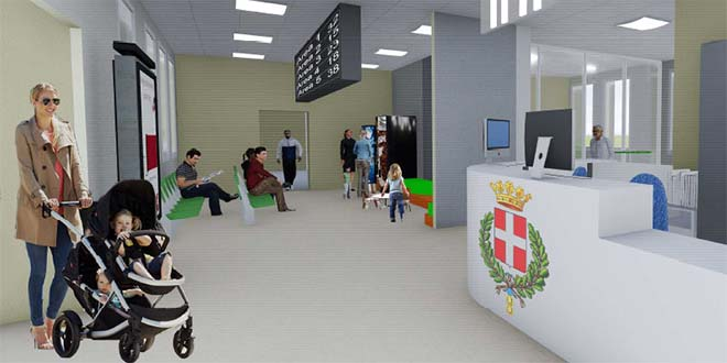 Un rendering di come dovrebbe essere il Front Office di via Torino nei progetti del Comune di Vicenza