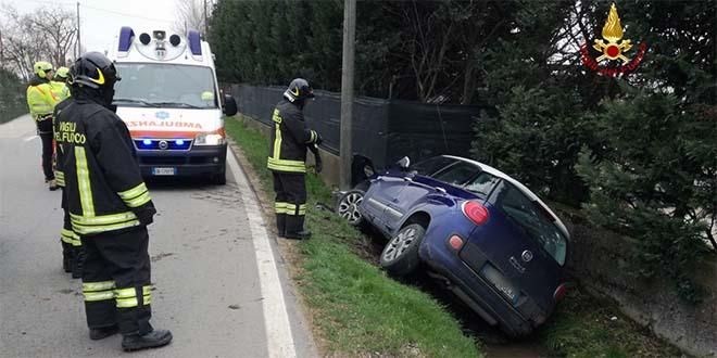 Incidente ad Orgiano, auto fuori strada. Un ferito