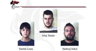I tre giovani arrestati dai carabinieri di Vicenza