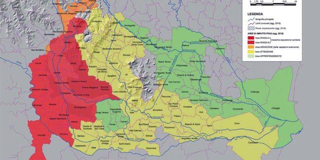La mappa dell'inquinamento da Pfas in Veneto