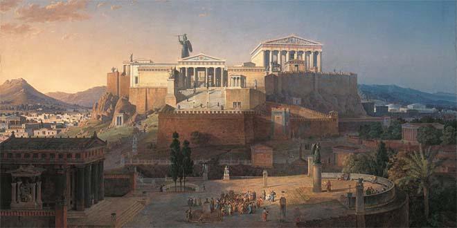 Ricostruzione ideale dell'Acropoli e dell'Areopago di Atene - Dipinto di Leo von Klenze, 1846