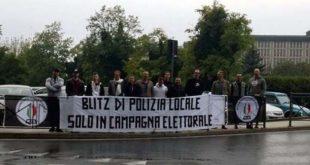 Una recente protesta del Mis di Vicenza contro i parcheggiatori abusivi davanti all'ospedale