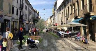 Un'idea di come potrebbe essere l'isola pedonale di corso san Felice, a Vicenza