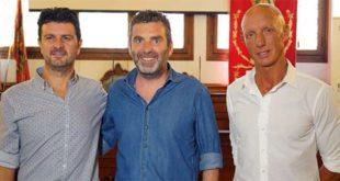 I vertici del F.C. Bassano 1903. Da sinistra Cristian Giacometti, Fabio Campagnolo e Francesco Maino