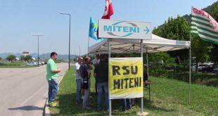 Un sit in di protesta delle Rsu della Miteni di alcuni mesi fa
