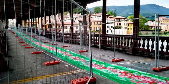 Bassano, un tappeto dipinto per un ponte da salvare