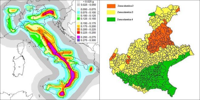 Mappe di pericolosità sismica d'Italia e del Veneto