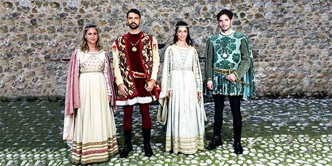 I protagonisti della rievocazione: Oldrada, Rinaldo d'Angaran, Lionora, Vieri da Vallonara