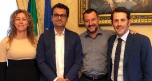Da sinistra: Erika Stefani, Francesco Rucco, Matteo Salvini e Matteo Celebron