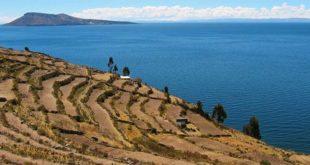 Lago Titicaca, Perù. Terrazze di era Inca sull'isola di Taquile