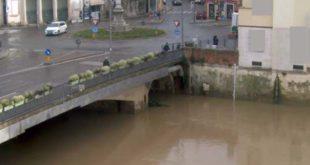 Il Bacchiglione, questa mattina, a Ponte degli Angeli, nel centro di Vicenza