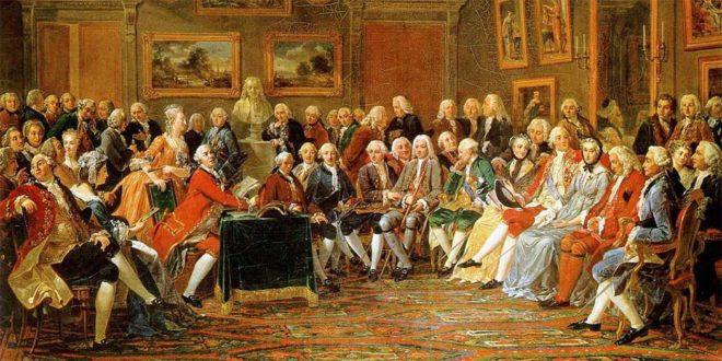 La lettura della tragedia di Voltaire, in un dipinto di Charles Gabriel Lemonnier. Compaiono Rousseau, Montesquieu, Diderot, d'Alembert, Richelieu e Condillac