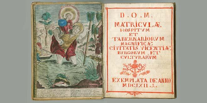 Matricola degli osti con santo protettore San Cristoforo