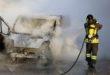 Furgone in fiamme, stamattina, a Costabissara