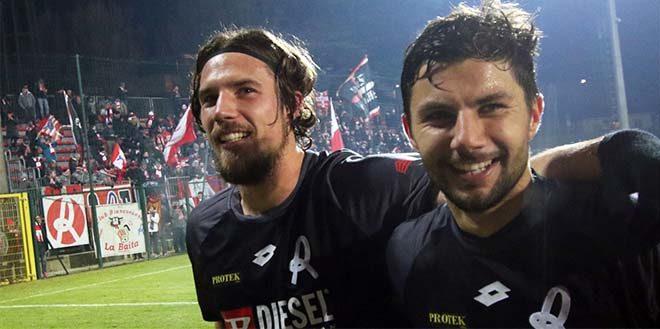 La gioia di Maistrello dopo il gol...