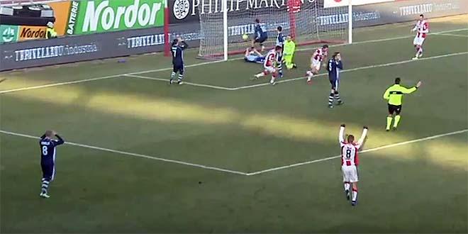 Il gol del Vicenza, di Razzitti, nel primo tempo, in uno screenshot da Eleven Sports Tv