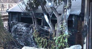 L'incendio ha distrutto un deposito degli attrezzi del centro rafting Ivan Team di Solagna
