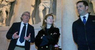 Da sinistra, Passarin, Capotondi e Celebron, durante la visita al Teatro Olimpico
