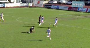 L'azione del secondo gol del Vicenza, segnato da Guerra (Screenshot da Eleven Sport Tv)