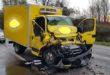Si scontrano un camion e un furgone. Un ferito