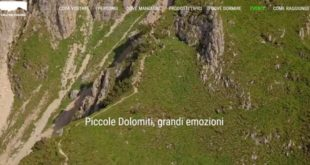 La homepage del nuovo portale turistico del Comune di Valli del Pasubio