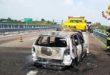 Auto a fuoco in A31 dopo un tamponamento