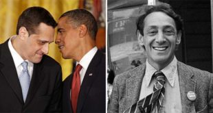Stuart Milk con Barak Obama e, a destra, in bianco e nero, Harvey Milk