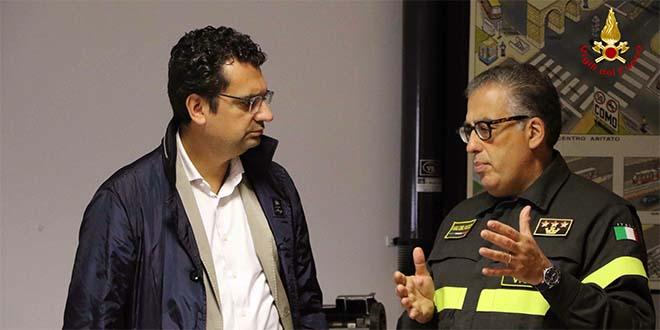 Il sindaco Rucco con il comandante provinciale dei Vigili del fuoco, Luigi Diaferio