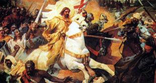San Giacomo nelle vesti di Matamoros, nella battaglia di Clavijo - Dipinto di José Casado del Alisal (1885)
