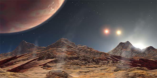 Rappresentazione di un'esoluna di HD 188753 Ab, primo pianeta extrasolare scoperto in un sistema multiplo a 3 stelle