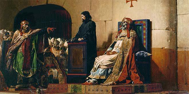 """""""Concilio cadaverico"""", Processo al cadavere del papa Formoso (Dipinto di Jean-Paul Laurens, 1870)"""