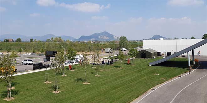 L'area di allestimento dell'ospedale da campo