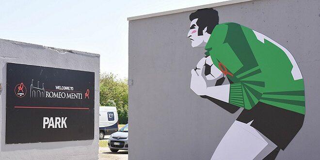 """murales dedicato al """"portierone"""" biancorosso Ernesto Galli"""